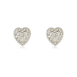 White silver tone heart stud earrings