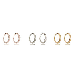 Rose gold tone hoop earrings pack