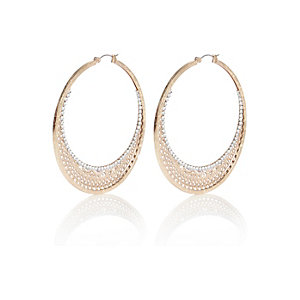 Gold tone filigree hoop earrings