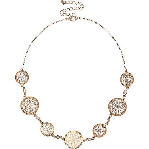 Gold tone circle filigree necklace