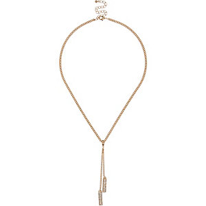 Gold tone diamanté drop necklace