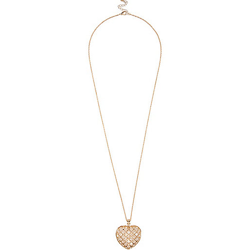Gold tone grid heart necklace