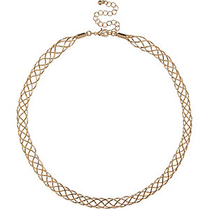 Gold tone plait chain necklace