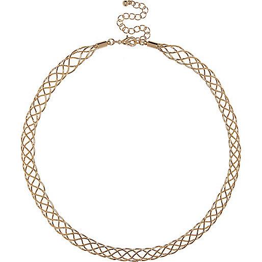 Gold tone plait chain necklace