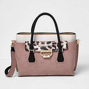 Pink flap pocket tote handbag