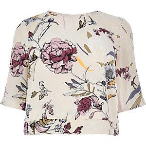 RI Plus cream floral print top