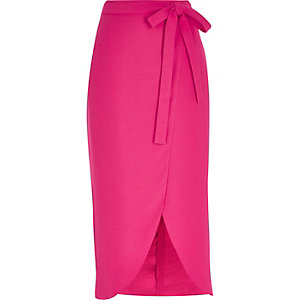 Bright pink wrap midi skirt