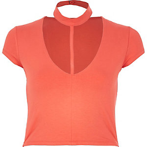 Coral T-bar crop top