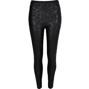 Black camo coated leggings