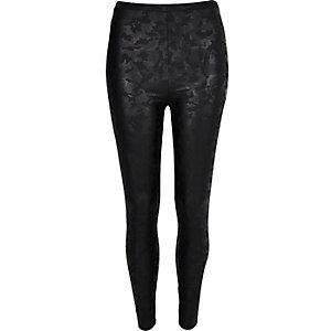 Black camouflage coated leggings