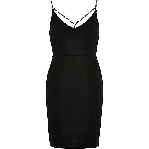 Black chain detail cami dress