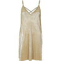 Goldenes Swing-Kleid mit Trägern