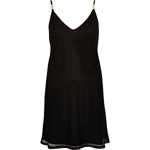 Black mesh slip cami dress