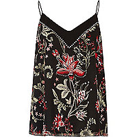Black floral print studded cami top