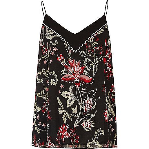 Black floral print studded cami top