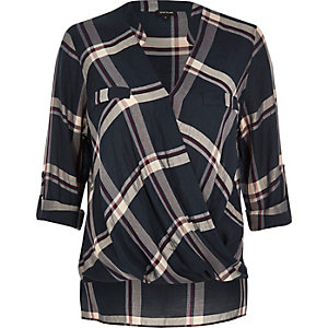 Navy checked wrap blouse