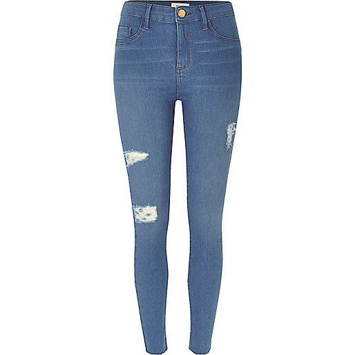 Dark blue wash ripped Molly jeggings