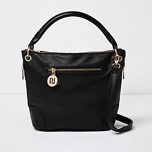 Black leather look bucket bag