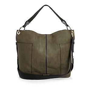 Khaki contrast panel slouch handbag