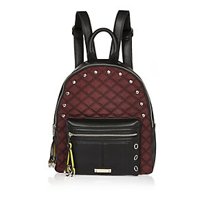 Dark red quilted backpack
