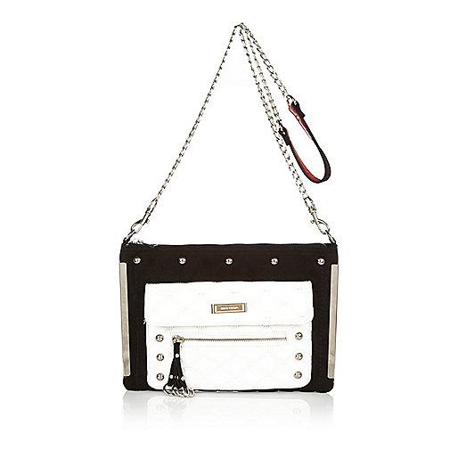 White studded panel cross body handbag