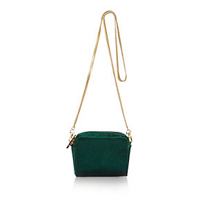 Green velvet snake print mini square handbag