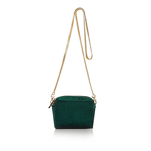Green velvet snake print mini square handbag