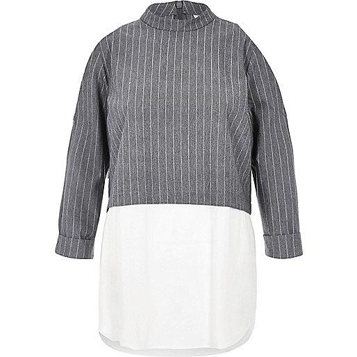 Grey stripe hybrid shirt