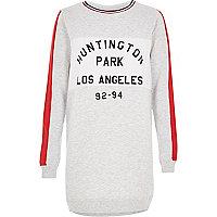 Grey LA print longline sweatshirt