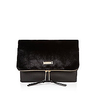 Black velvet textured foldover clutch bag