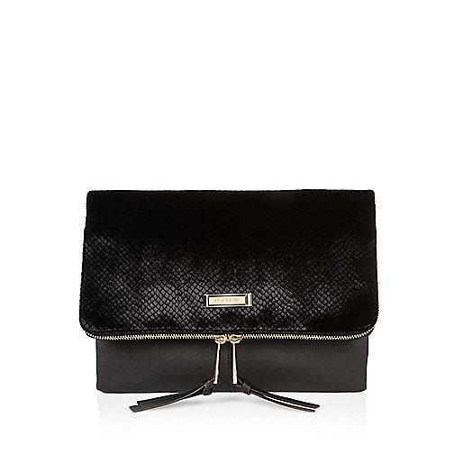 Black velvet textured foldover clutch bag
