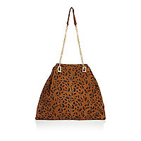 Brown leopard print suede chain handbag
