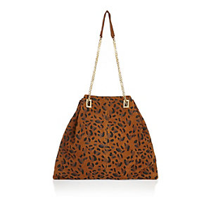 Brown leopard print suede chain bag