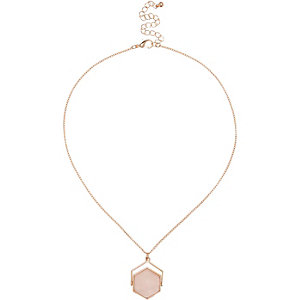Rose gold tone hexagon twist necklace
