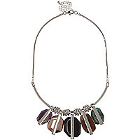 Silver tone gemstone statement necklace