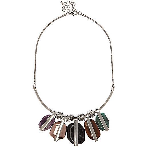 Silver tone gemstone statement necklace
