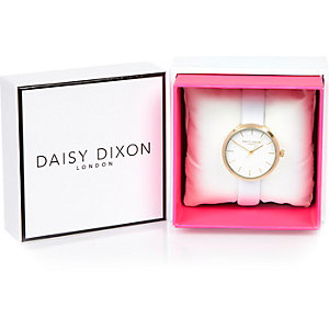 Daisy Dixon white gold tone faceted  watch