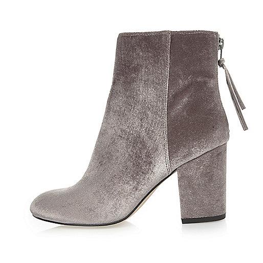 Grey velvet block heel ankle boots