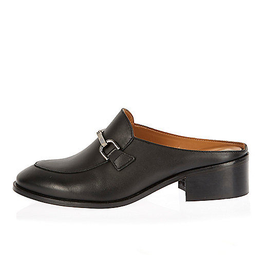 Black backless loafers