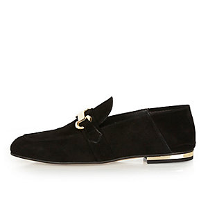 Black suede fold down loafers