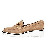 Blush suede platform loafers