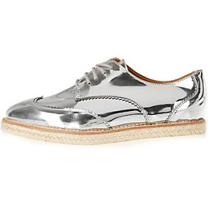 Silver leather platform espadrille brogues