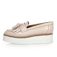Light pink platform loafers