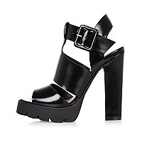 Black thick strap heeled sandals