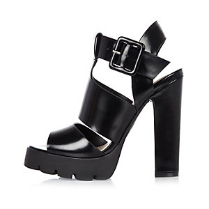 Black thick strappy heeled sandals