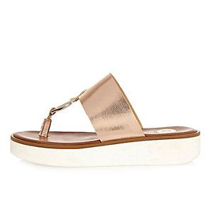 Rose gold metallic platform sandals