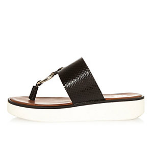 Black patent platform sandals