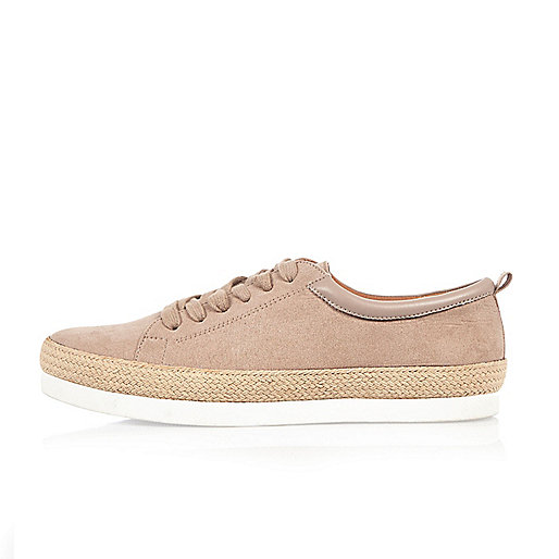 Light pink espadrille lace-up trainers