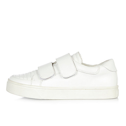 White double strap trainers