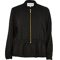 Black peplum bomber jacket